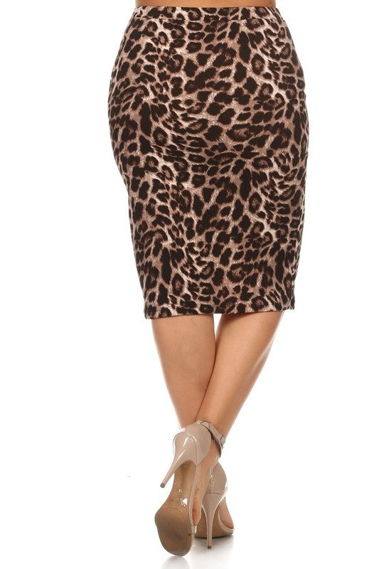 Pencil Skirt Textured Leopard Print  (including Curvy)