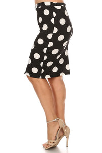 Pencil Skirt Black and White Polka Dot