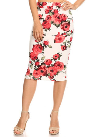Pencil Skirt White Floral (including Curvy)