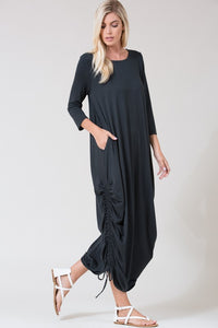 Cinched Maxi Dress Rich Gray