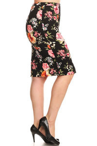Pencil Skirt Black Floral Medley (Including Curvy)