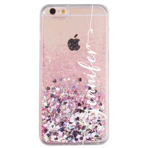 custom name pink glitter iphone case