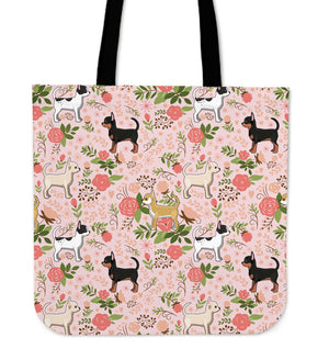 Chihuahua Floral Tote Bag