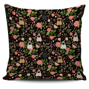 Pug Floral Pillow Cover * Free Shipping! *