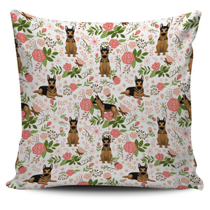 German Shepherd Floral Pillow Cover