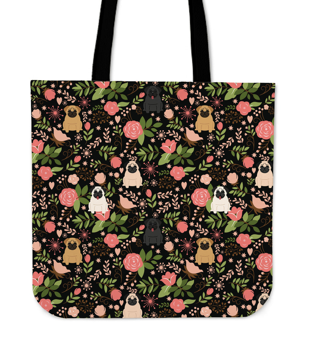 Pug Floral Tote Bag   Free Shipping!   - OnePunz 0034bad63555b