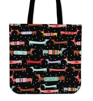 Dachshunds Snow Holiday Tote Bag