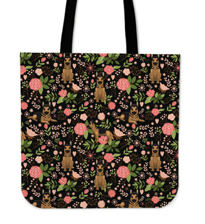 German Shepherd Floral Tote Bag