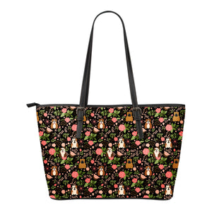 Bulldog Floral Leather Tote Bag * Free Shipping! *