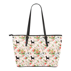 Chihuahua Floral Leather Tote Bag * Free Shipping! *