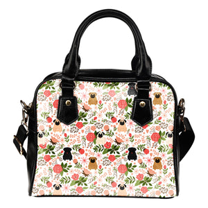 Pug Floral Shoulder Handbag * Free Shipping! *