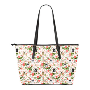 French Bulldog Floral Leather Tote Bag * Free Shipping! *