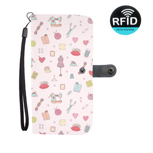 Pink Sewing Tools Wallet Case