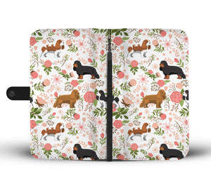 Flower Cavalier King Charles Spaniel Wallet Case