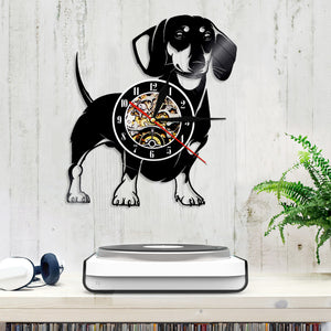 Dachshund Vinyl Wall Clock with LED Light