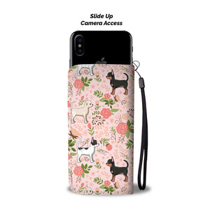 Pink Chihuahua Floral Wallet Case