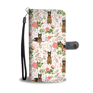 German Shepherd Floral Wallet Case