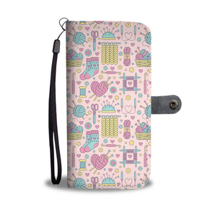 Pink Knitting Wallet Case