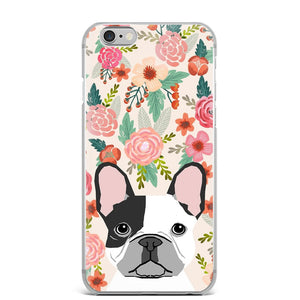 Cute French Bulldog Florals Flowers Soft Case For iPhone