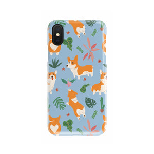 Corgi Tropical Phone Case (Blue)
