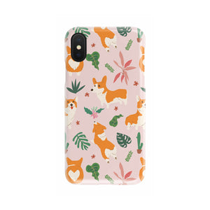 Corgi Tropical Phone Case (Pink)