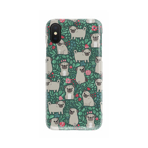 Cute Pug Flower Phone Case (Green)