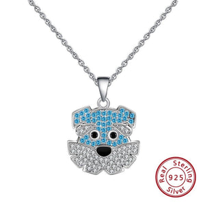 925 Sterling Silver Blue Cubic Zirconia Schnauzer Necklace