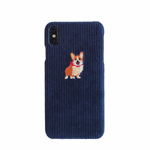 Cute Corgi Embroidered Corduroy iPhone Case