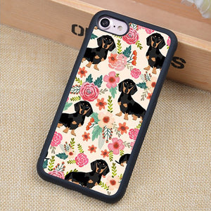 Flower Dachshund Rubber iPhone Case