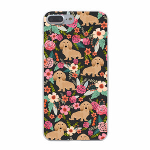 Flower Long Haired Dachshund iPhone Case