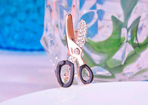 Crystal Scissors Brooch