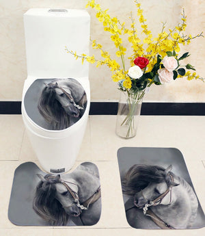 Horse Print Bathroom Mats Set