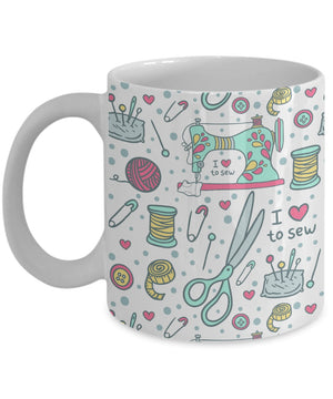 Coffee Mug - I Love To Sew (Full Wrap)