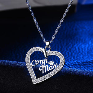 Corgi Mom Crystal Heart Pendant Necklace