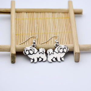 Earrings - Silver Shih Tzu Earrings