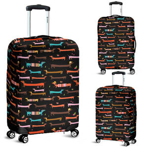 Cute Dachshund Luggage Cover (Black)