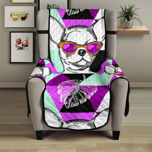 Chihuahua Dog in Glasses Chair & Sofa Protector