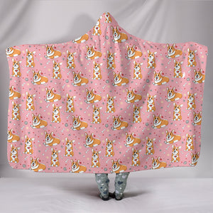 Cute Corgi Hooded Blanket (Light Pink)