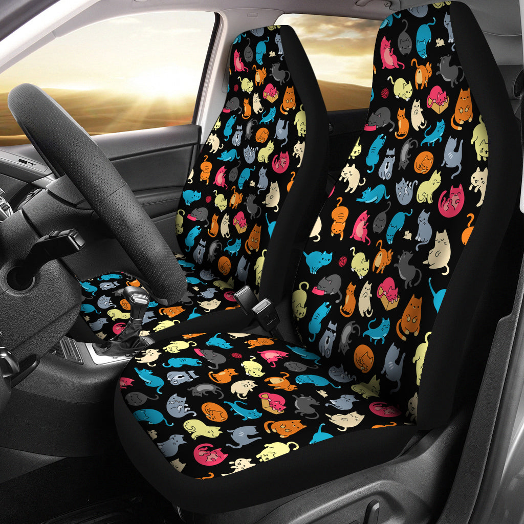 Colorful Cat Car Seat Covers Black Free Shipping