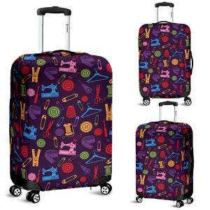 Purple Sewing Tools Luggage Cover