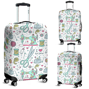 I Love to Sew Luggage Cover (White)