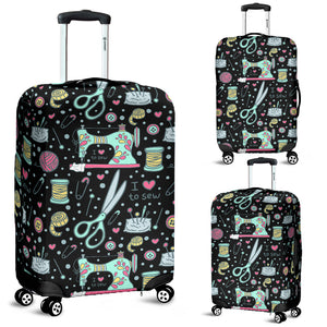 I Love to Sew Luggage Cover (Black)