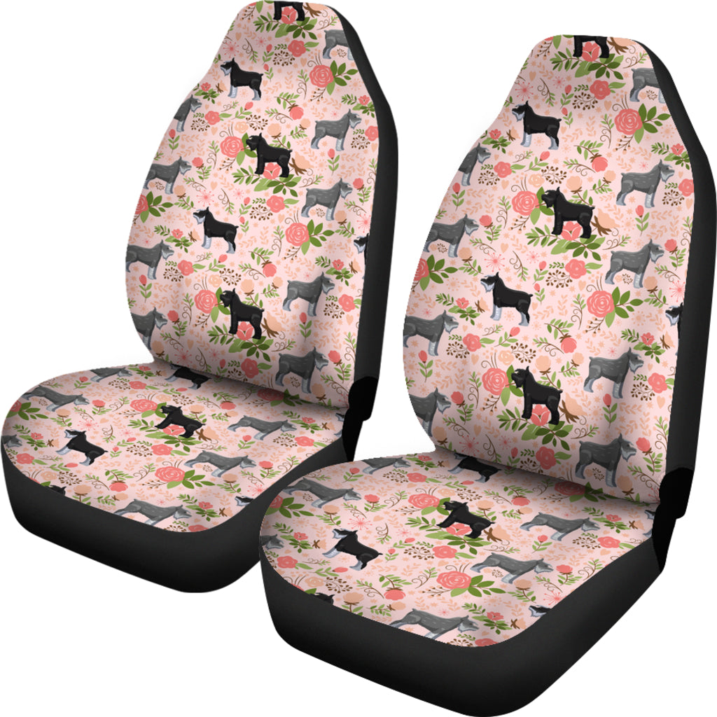 Schnauzer Floral Car Seat Covers Pink Free Shipping Onepunz