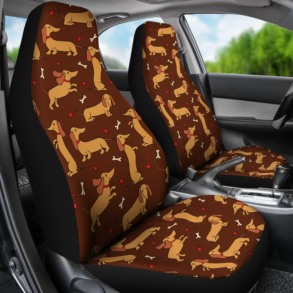 Brown Dachshund Car Seat Covers Set Of 2 Free Shipping