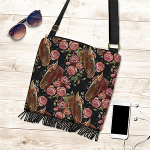 Embroidery Horse & Rose Crossbody Boho Handbag