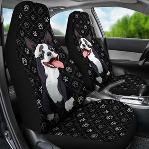 [Set of 2] Boston Terrier Car Seat Covers (Black) * Free Shipping! *