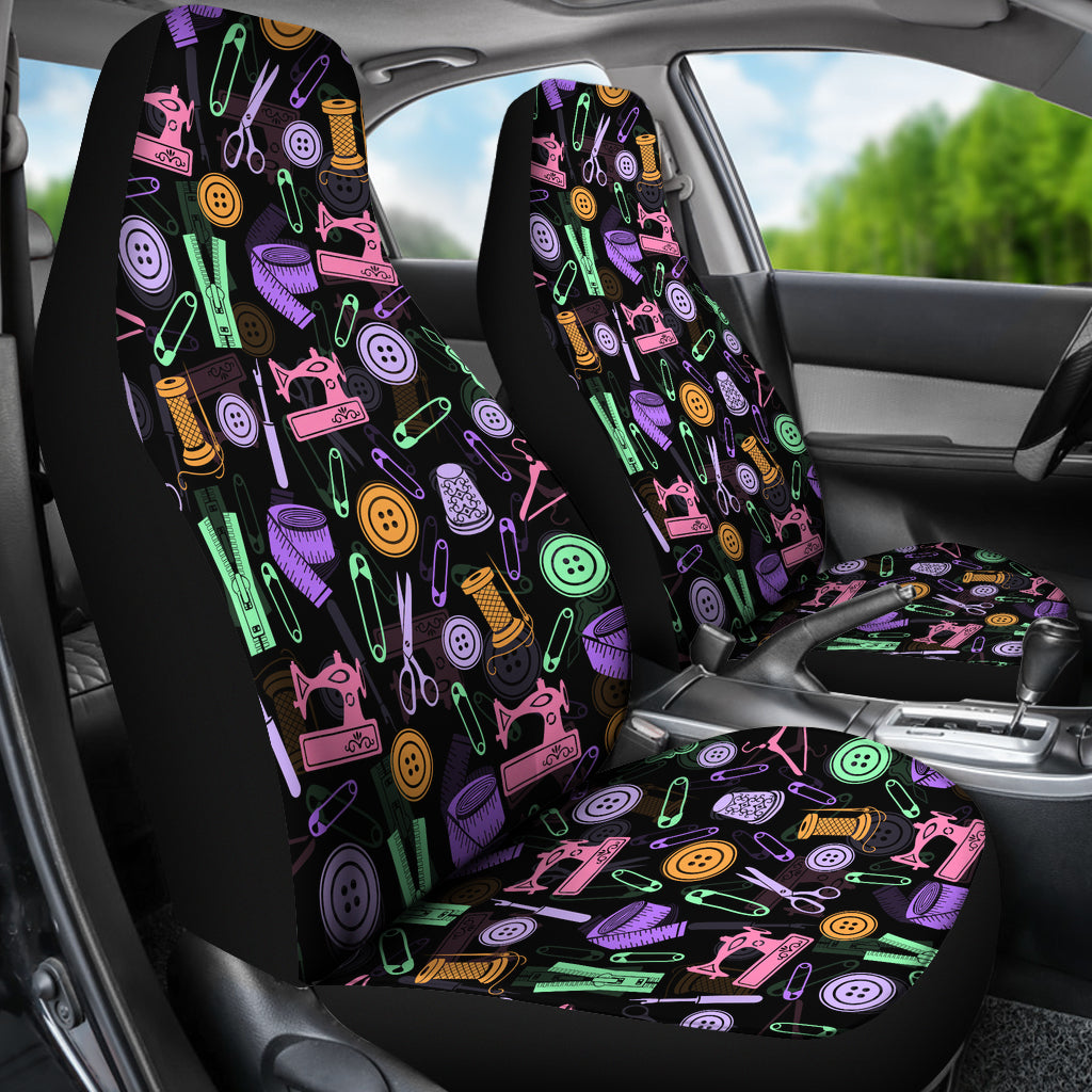 Black Sewing Tools Car Seat Covers Set Of 2 Free Shipping