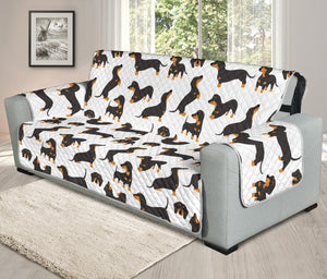 Cartoon Dachshund Chair & Sofa Protector Covers (White)