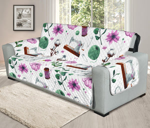 Vintage Sewing Floral Sofa Protector Cover (White)