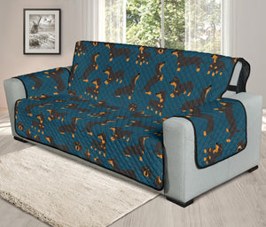 Cartoon Dachshund Chair & Sofa Protector Covers (Dark Blue)